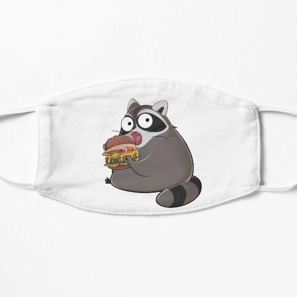 Knuddeliger Waschbär isst einen leckeren Burger Maske