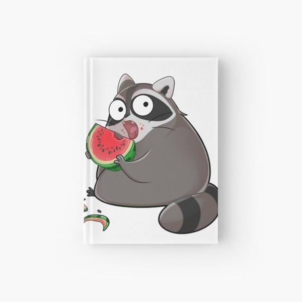 Knuddeliger Waschbär isst einen leckere Melone Notizbuch