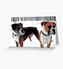 Boxers in the Snow Greeting Card