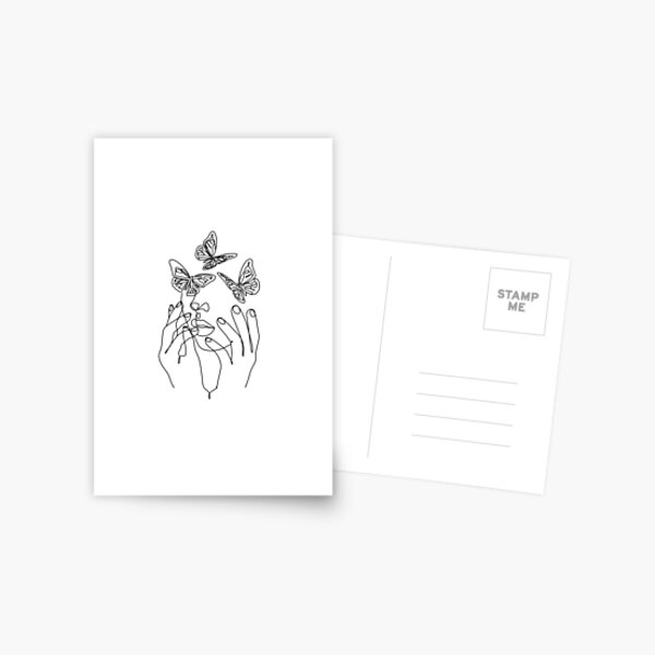 Abstract Line Illustration, Minimal Face Drawing In Lines, Printable Butterfly Fashion Sketch, Drawn Female Portrait, Minimalist Woman Art. Postcard