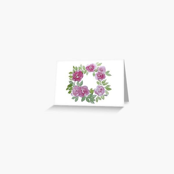 Pink Roses Watercolor Wreath Greeting Card