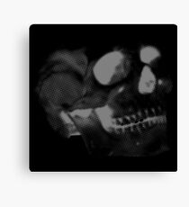 Skull grey on black Canvas Print