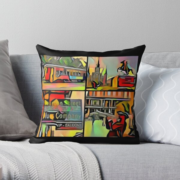 New Orleans-Jackson Square- Trolley-Jazz Player-Blues Bar Throw Pillow