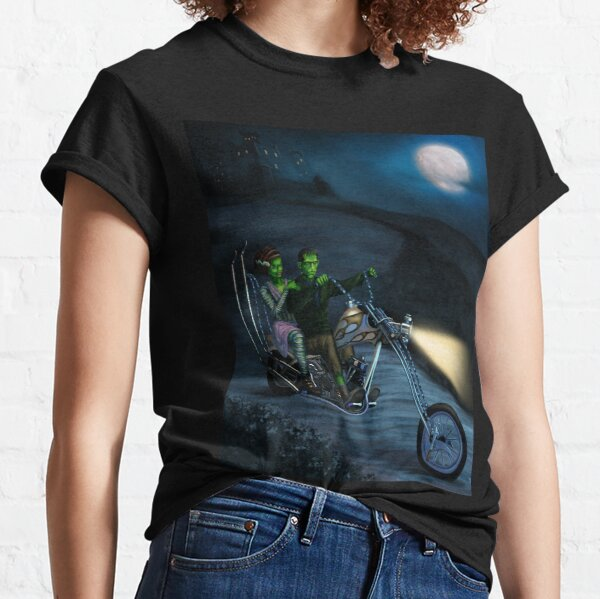 Frankenstein & Bride Rides Motorcycle Chopper Halloween Classic T-Shirt