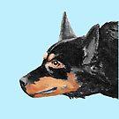 Australian Kelpie Black Portrait by Barbara Applegate