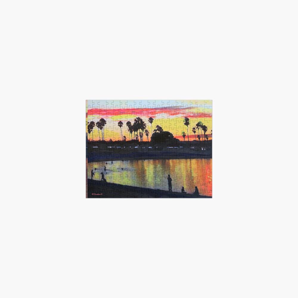 Tropical Sunset on The Lagoon - San Diego California Jigsaw Puzzle