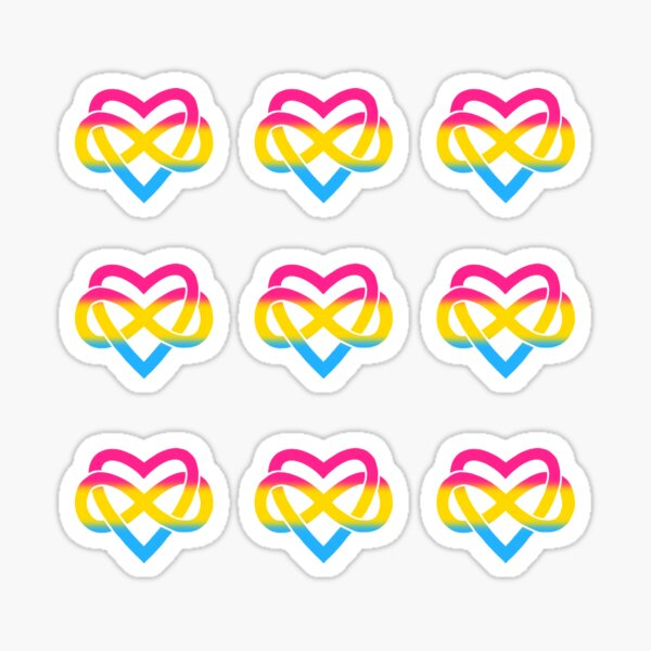 9x Pansexual Polyamory Infinity Heart Sticker