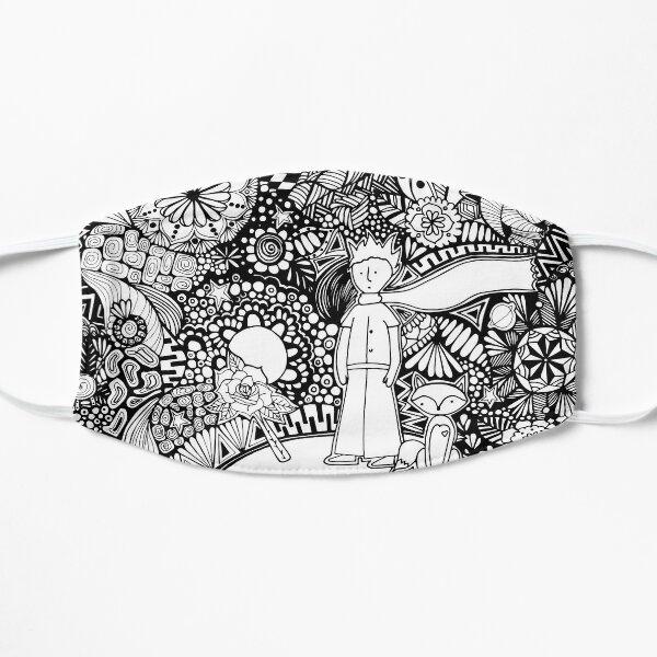 Der kleine Prinz ByN, inspiriert von dem Buch von Antoine de Saint-Exupéry, das vollständig von Hand mit der Zentangle-Kunsttechnik von Chulitad gezeichnet wurde Flache Maske