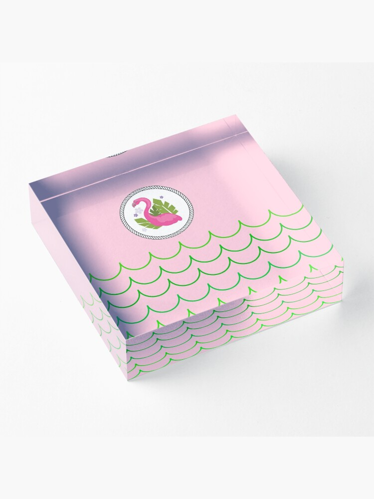 Alternate view of The Pink Flamingo-Flamingo-Florida Flamingo Acrylic Block