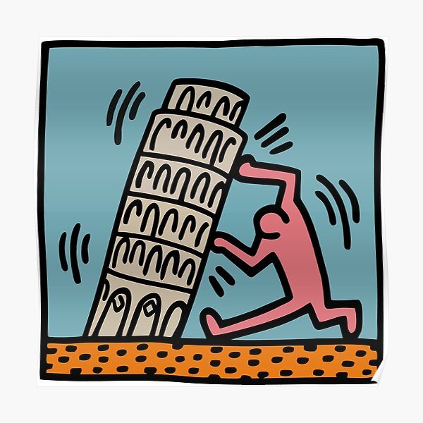 Keith Haring - Pisa Tower / 1988 / Talking Heads / Abstract / Pop Art Poster