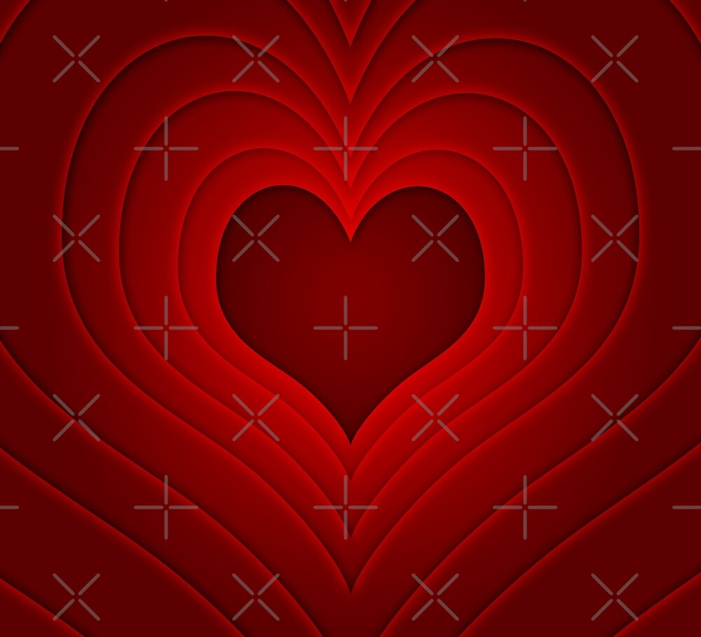 Red Heart Illustration Valentines Design by artonwear