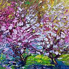 Spring Painting of Pink Flowers on Magnolia Tree Fine Art by Ekaterina Chernova by Ekaterina Chernova