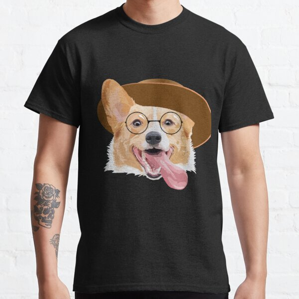 Smiling Corgi With Round Glasses and Hat Classic T-Shirt