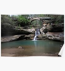 Old Mans Cave waterfall Poster