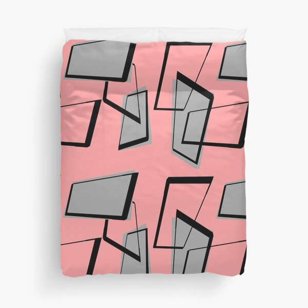 Mid-Century Modern Rectangles on Pink Duvet Cover