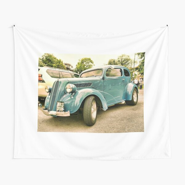 Vintage classic blue car in Cotsworld Tapestry