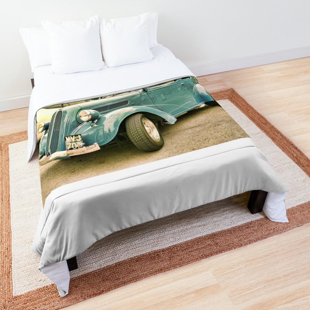 Vintage classic blue car in Cotsworld Comforter