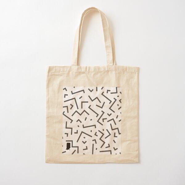 Tribal Print-Indiana-Black and White Cotton Tote Bag