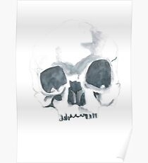 Watercolour skull in dull colours Poster