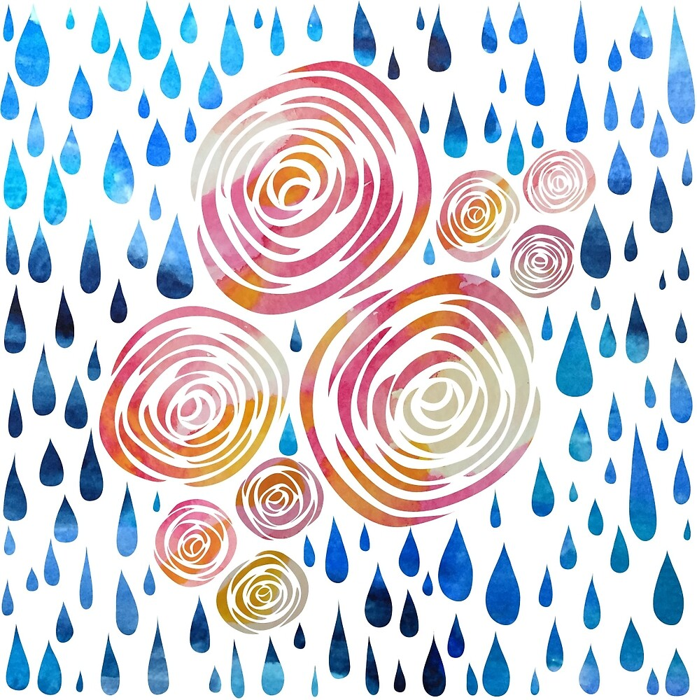 Watercolor Flowers and Raindrops by natalievmason