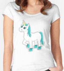 Cute Blue and White Unicorn Women's Fitted Scoop T-Shirt