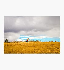 Old Woman Walking On Hill Photographic Print