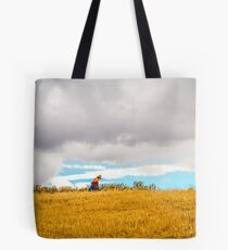 Old Woman Walking On Hill Tote Bag
