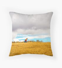 Old Woman Walking On Hill Throw Pillow