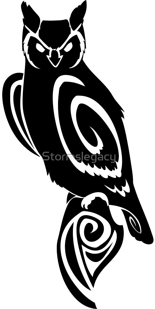 Owl Tribal Wise Great Horned by Stormslegacy