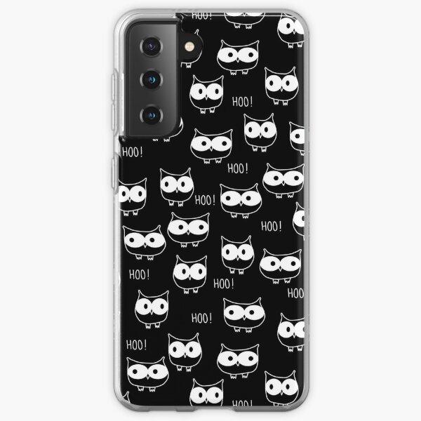 Cute Owls White on Black Samsung Galaxy Soft Case