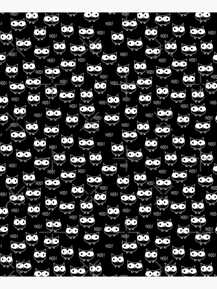 Cute Owls White on Black by emeraldlane