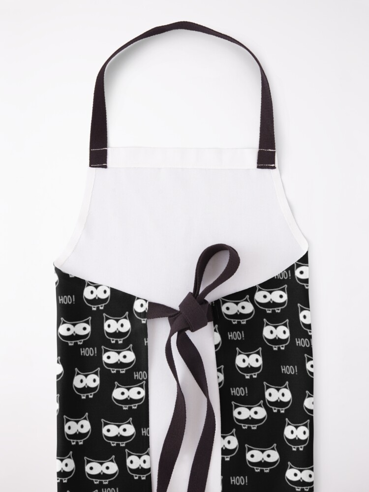 Alternate view of Cute Owls White on Black Apron