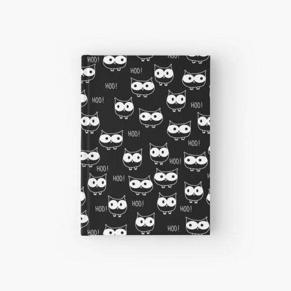 Cute Owls White on Black Hardcover Journal