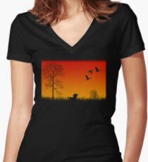 Real Duck Hunt Women's Fitted V-Neck T-Shirt