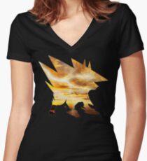 Mega Manectric Thunder Wave Women's Fitted V-Neck T-Shirt