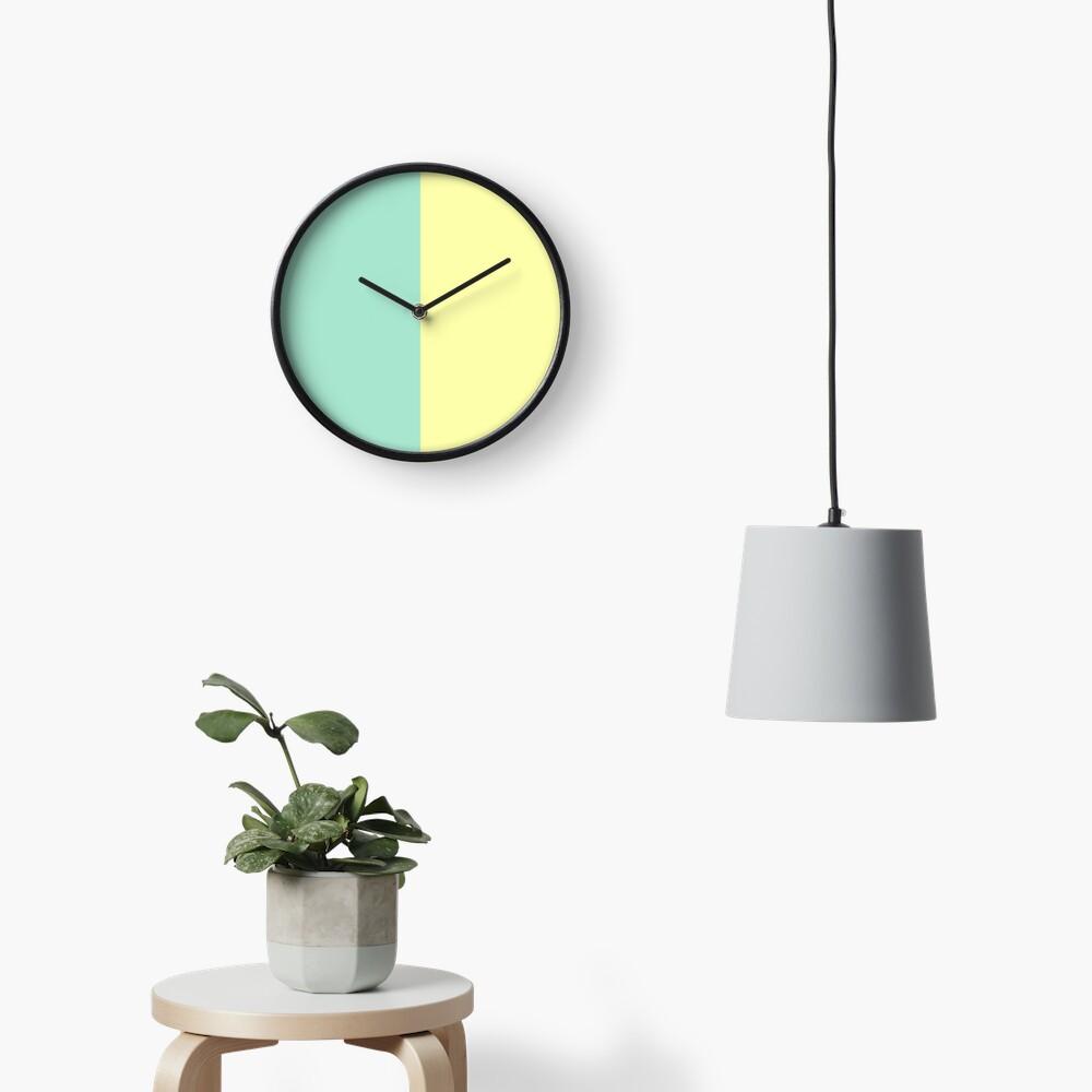 Pastel Green and Yellow Split Clock