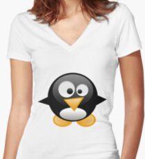 penguin work 1 Women's Fitted V-Neck T-Shirt