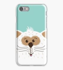 Funny smiling cat on th blue background iPhone Case/Skin