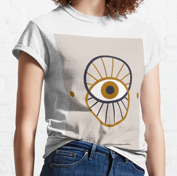 Mystical Eyeball Magical Zodiac Astrological Symbol Minimalist Bohemian Boho Neutral Colors Classic T-Shirt