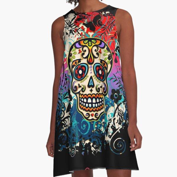 Mexican Skull, Sugar Skull, Day of the Dead, Dias de los muertos A-Line Dress