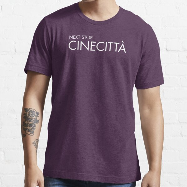 Next Stop Cinecittà White Text Essential T-Shirt