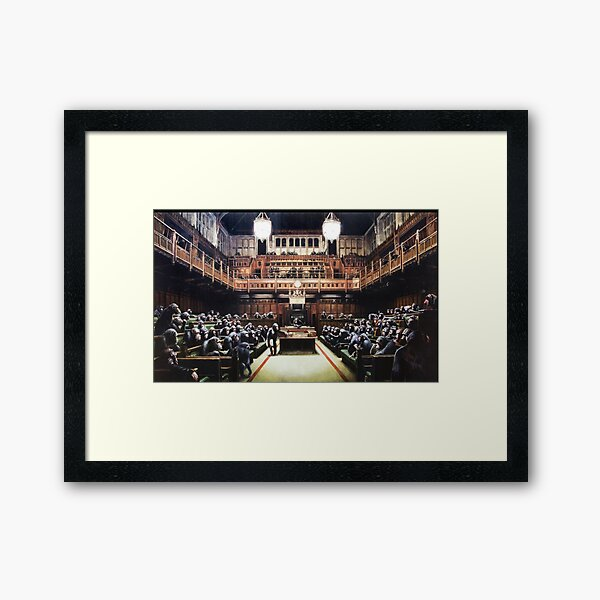 Banksy Satire Painting Devolved Parliament - Monkey Parliament  Framed Art Print