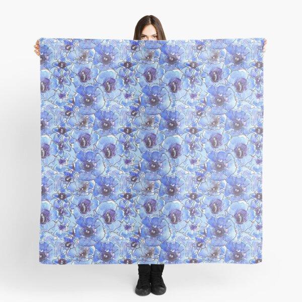 Blue Floral Gentians Pattern Scarf