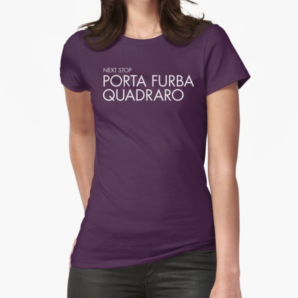 Next Stop Porta Furba Quadraro white Text Fitted T-Shirt