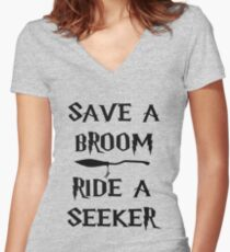 Save A Broom Women's Fitted V-Neck T-Shirt