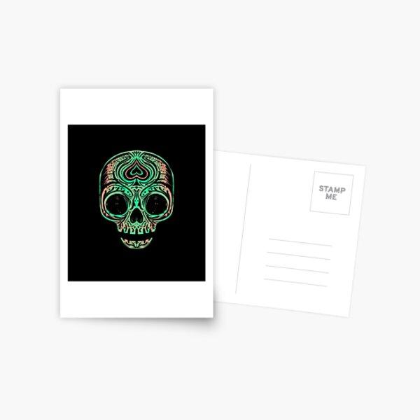 Sugar Skull - Salmon Green Postcard