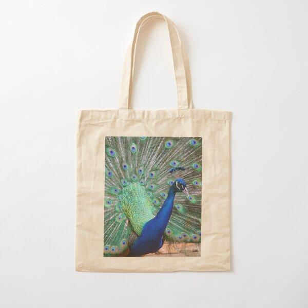 Posing Peacock Cotton Tote Bag