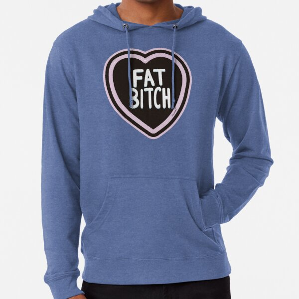 Fat Bitch (pink & blue) Lightweight Hoodie