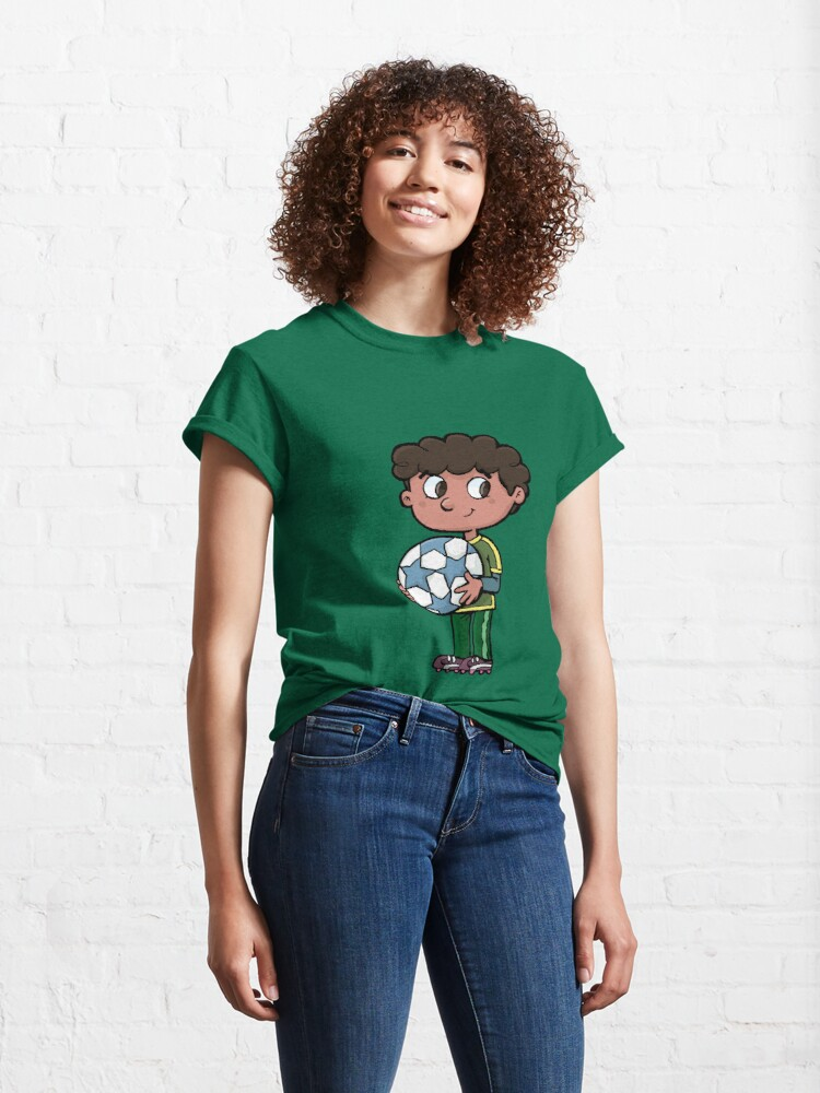 Alternate view of boy with a soccer ball Classic T-Shirt