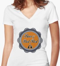 Beer and Bed Rest Women's Fitted V-Neck T-Shirt
